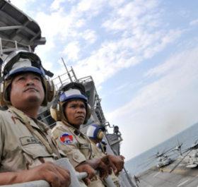 Lính hải quân Campuchia trong một cuộc tập trận trên biển. Ảnh: Wikipedia.