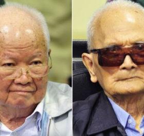 Bị cáo Khieu Samphan (trái) và Nuon Chea. Ảnh: Reuters