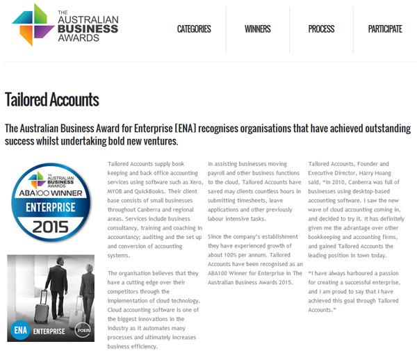 Thông báo về giải thưởng Doanh nghiệp xuất sắc nhất nước Úc năm 2015 của Tailored Accounts
