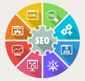 Infographic about Search Engine Optimization process, icons flat colorful
